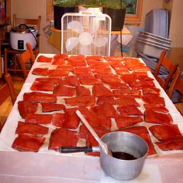 King Salmon Fillets Drying
